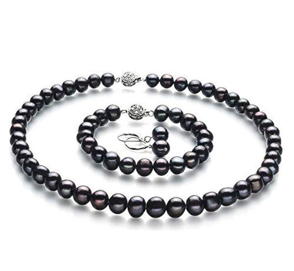 Black 8-9mm A Quality Freshwater 925 Sterling Silver Cultured Pearl Set