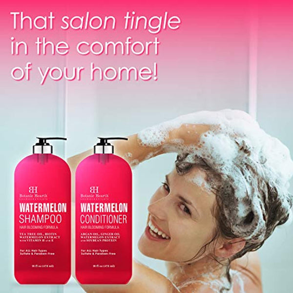 Watermelon Shampoo and Conditioner Set - Promotes Hair Growth, Fights Hair Loss, Moisturizes, Sulfate & Paraben Free - for ALL Hair Types, for Men and Women - 16 fl oz x 2