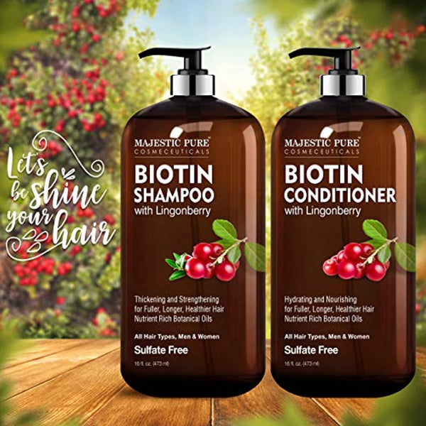 Biotin Shampoo and Conditioner Set with Lingonberry  - for Hair Loss and Thinning Hair - Hydrating & Nourishing, Sulfate Free, Color Safe, For Men and Women, 16 fl oz each