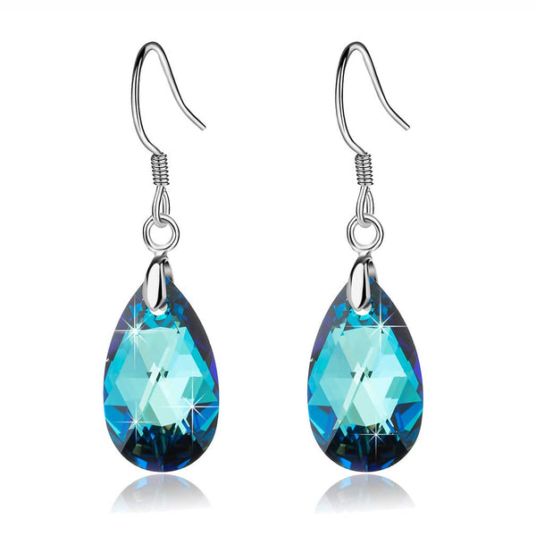 Swarovski Crystal Drop Dangle Earrings ,925 Sterling Silver