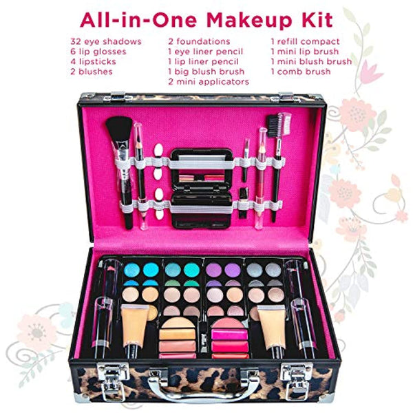 Makeup Kit Gift Set – 52 Piece - 32 Eye Shadows, 2 Blushes, 4 Lipsticks, 1 Dual-tip Eye Pencil, 1 Dual-tip Lip Pencil - Mirror - Case with Carrying Handle