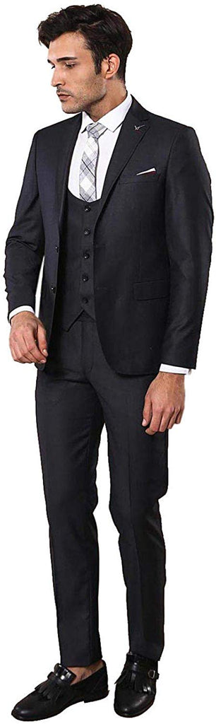 Plain Vested Black Men's Suit - Be Imperial