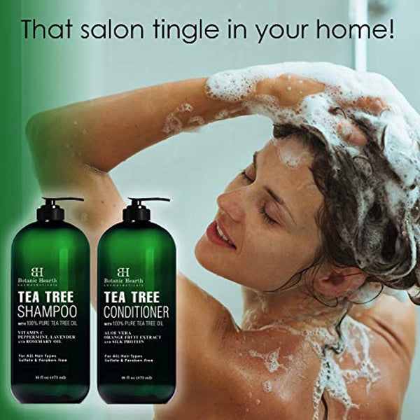 Tea Tree Shampoo and Conditioner Set - with 100% Pure Tea Tree Oil, for Itchy and Dry Scalp, Sulfate Free, Paraben Free - for Men and Women - 2 bottles 16 fl oz each