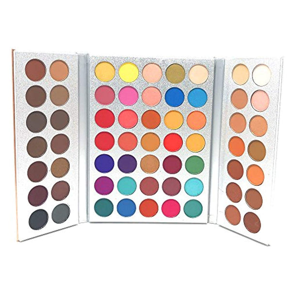 Eye-shadow Palettes + Makeup Brushes Set + Sponge Blender, Pigmented 63 Pop Colors