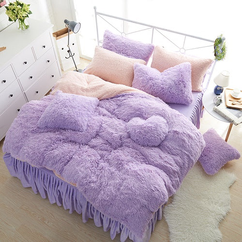 Solid Color Princess Bedding Sets Luxury w White lambs wool Bed Skirt Duvet Cover Bedspread Bedclothes Bed Linen