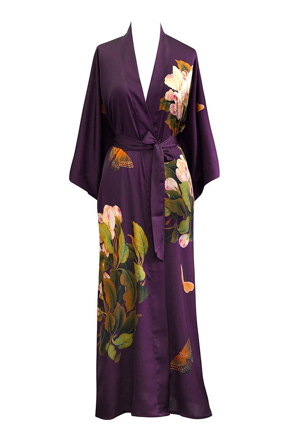 Women's Charmeuse Kimono Robe Long - Watercolor Floral