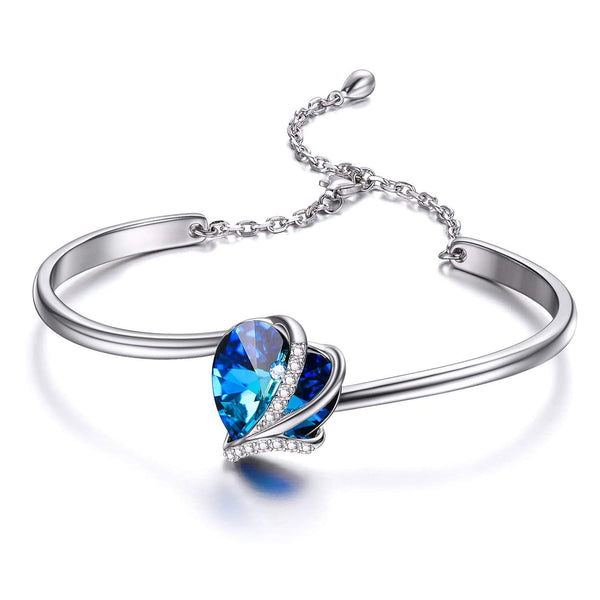 925 Sterling Silver Bangle Bracelet with  Swarovski Crystal,