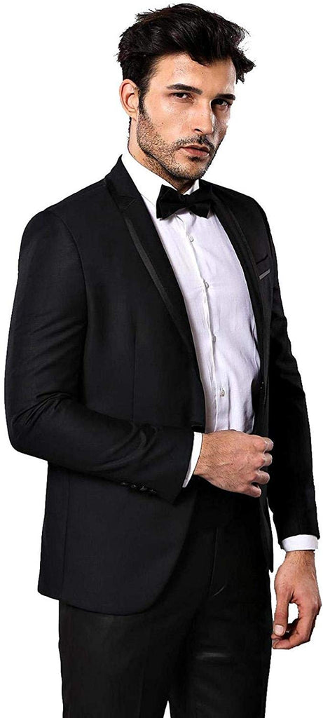 Satin Lapel Slim-Fit Black Wedding Suit - Be Imperial