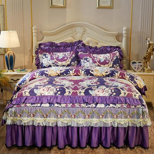 Luxury Pastoral style washed silk Bedding Sets Full Queen King Size Duvet Cover Bedspread bed skirt set Pillowcase
