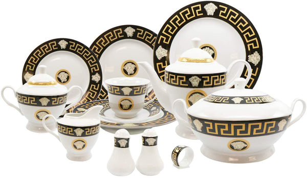 Royalty Porcelain 57-pc Dinner Set, Greek Key Medusa 24K,