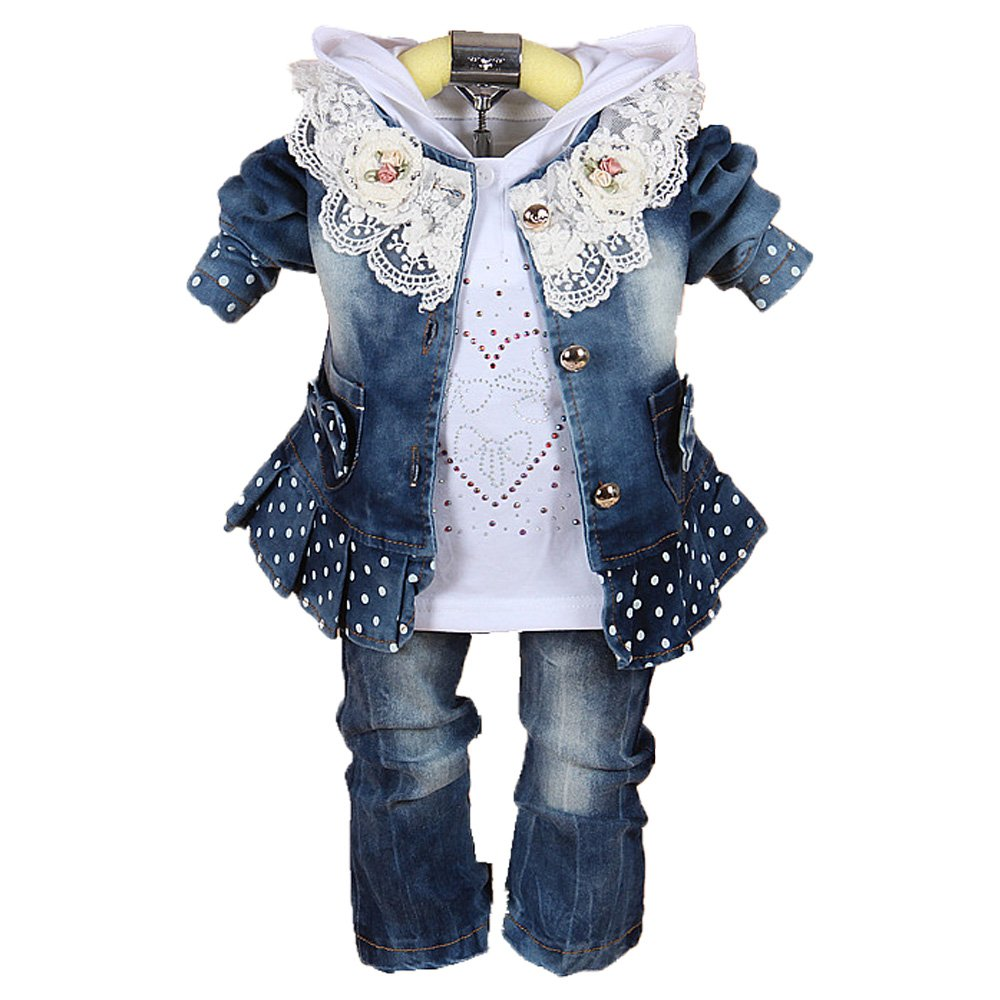 Baby Girls Denim Clothing Sets ,3 Pieces Sets- T Shirt, Denim Jacket and Jeans
