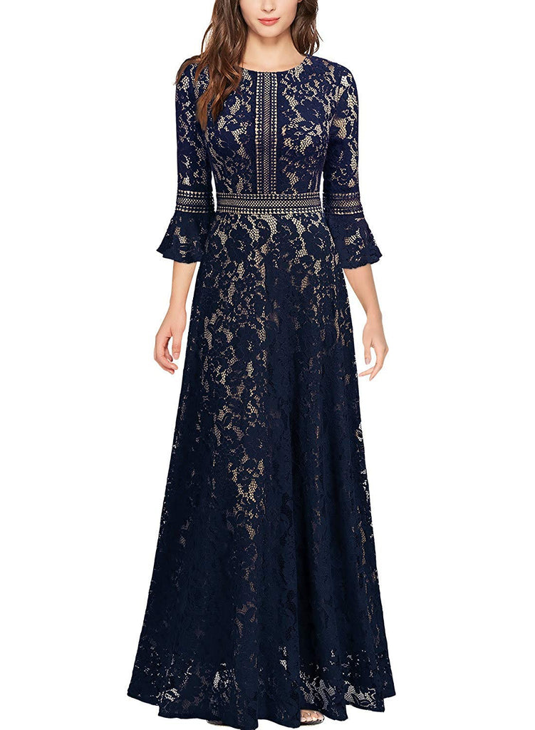 Vintage Full Lace Contrast Bell Sleeve Formal Long Dress - Be Imperial
