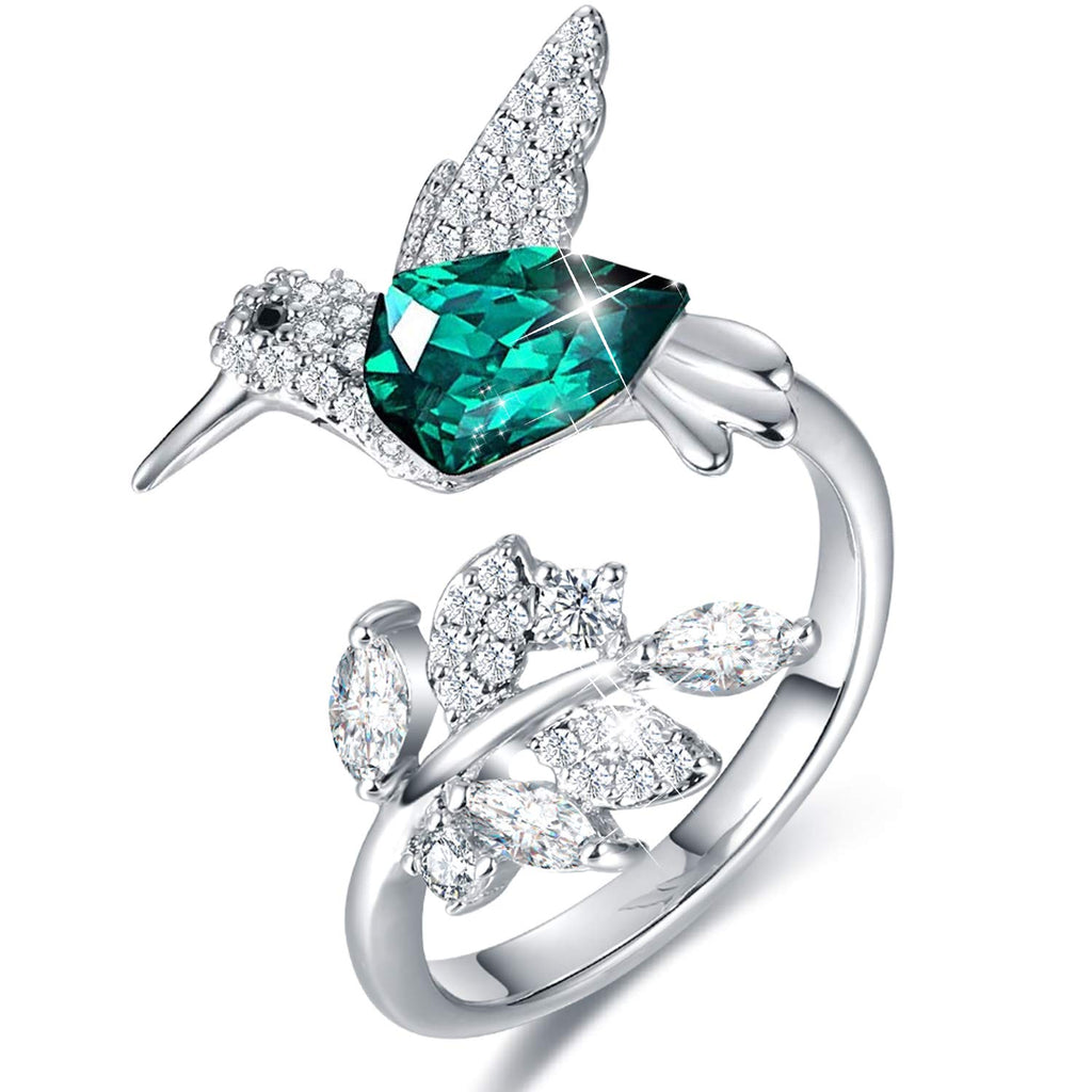 Hummingbird Ring S925 Sterling Silver Embellished with Crystals from Swarovski( Adjustable )