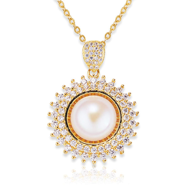 Freshwater Pearl Necklace, Sterling Silver-925 and  14K Gold-Plated Ladies Pendant