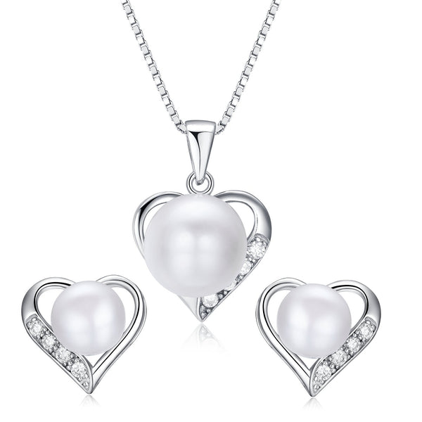 Heart Shaped Flawless Pearl Post Stud Earrings & Silver Chain Pendant Set( Freshwater Pearl & 925 Sterling Silver)