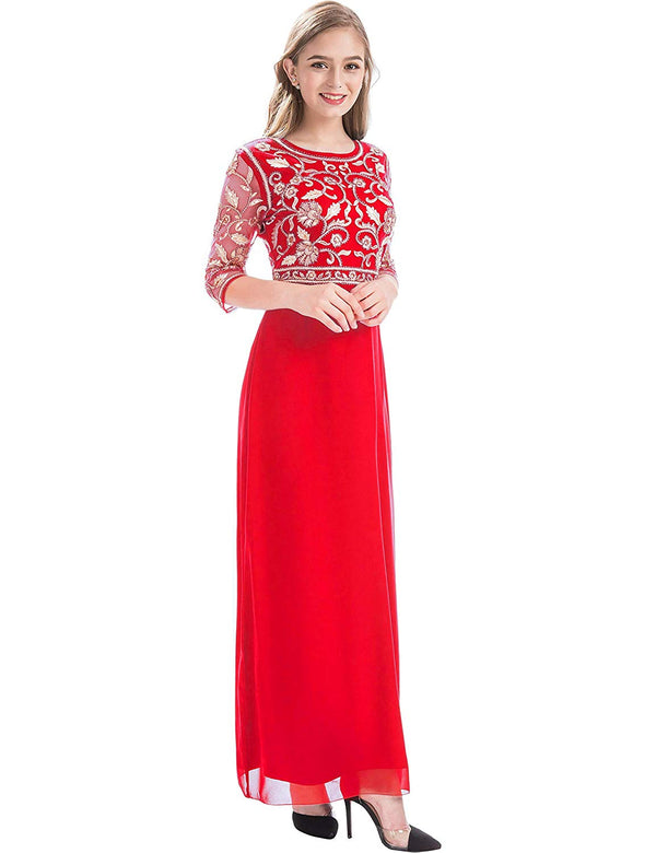 Women Chiffon Beaded  Evening  Dress