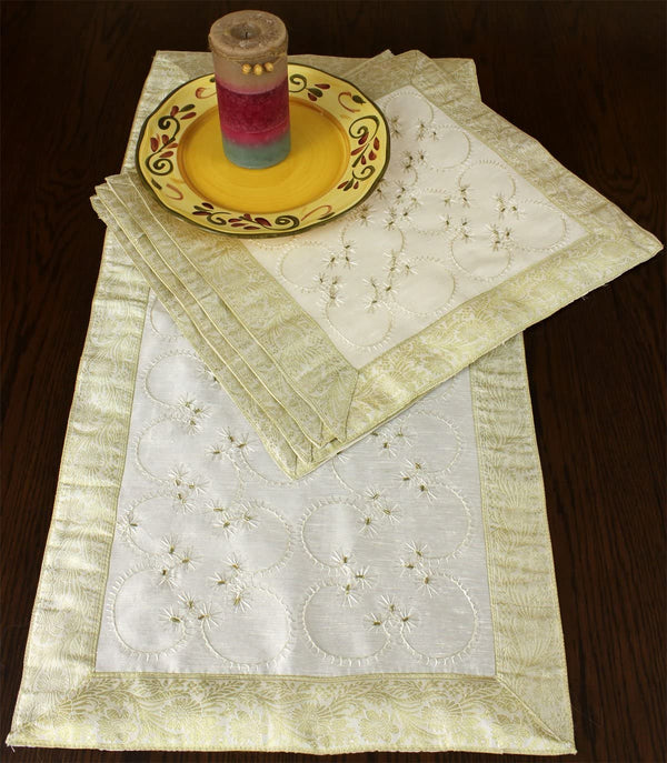 Hand Embroidered Table Placemat Set, Set of 5