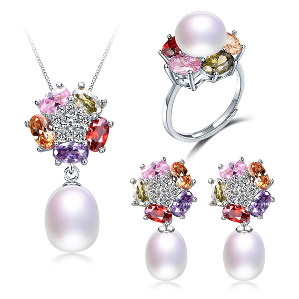 Deluxe Jewelry Set  100% Natural Freshwater Pearl Necklace, Earrings & Ring – 925 Sterling Silver W/Multi-Colored Flower Design W/8-9 MM Pearl