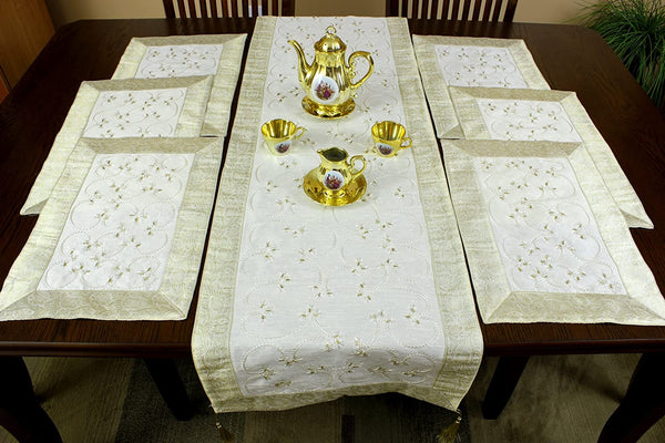 Hand Embroidered 7-Piece Place-mat & Table Runner Set