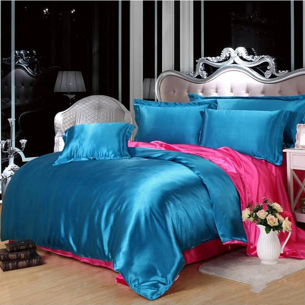bedspread imitate silk bedding set 4pcs solid color soft duvet cover flat fitted sheet pillowcases