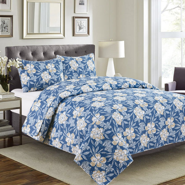 Vera - 3 Piece Quilt Set - Blue - Be Imperial