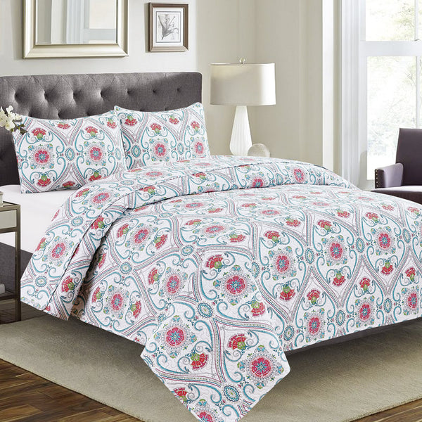 Vera - 3 Piece Quilt Set - Green Off-White Multi - Be Imperial