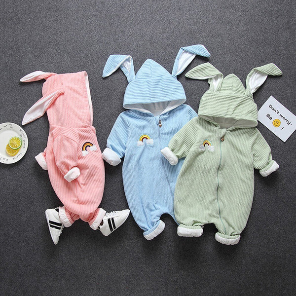 Kids Baby Boys Girls Hooded Romper Jumpsuit