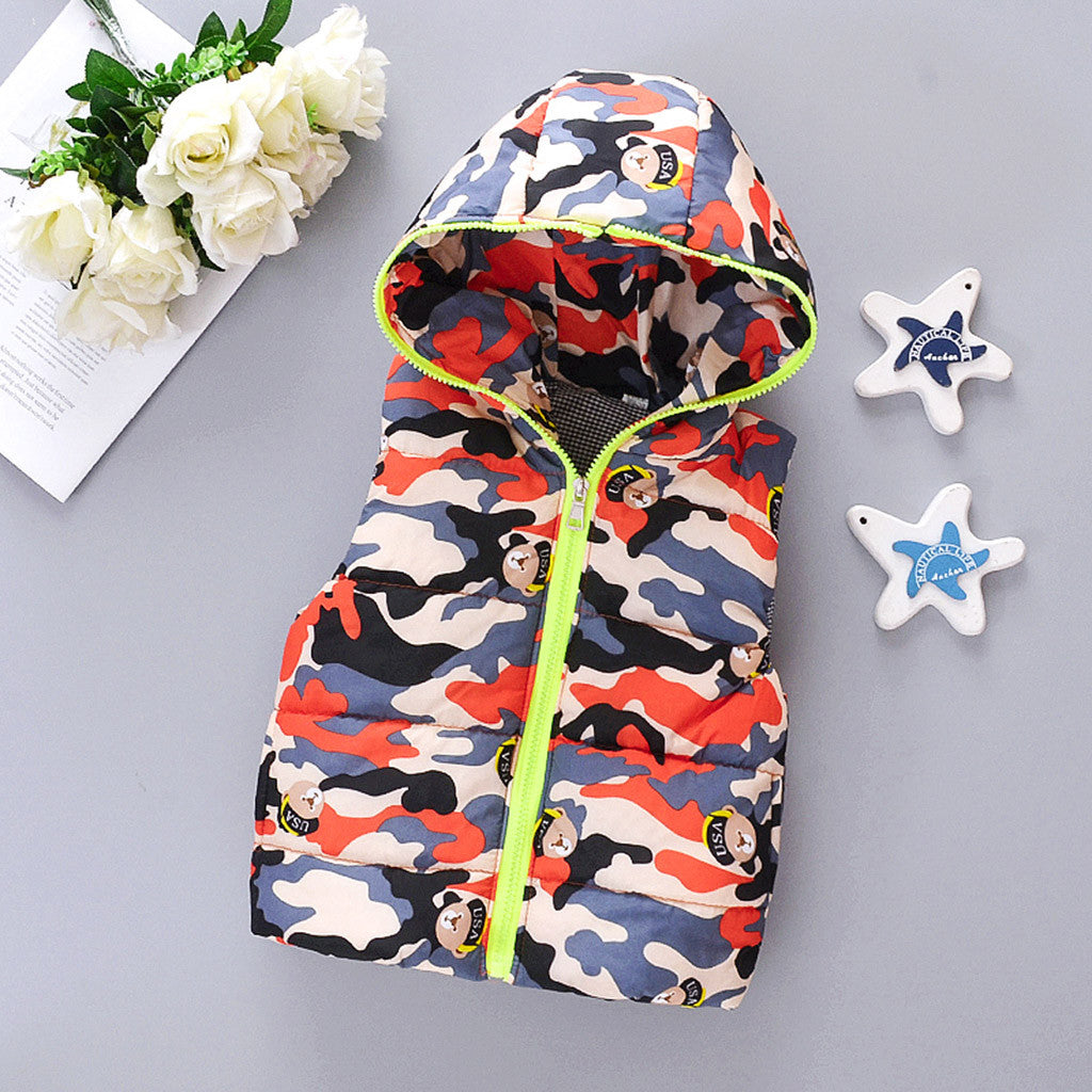 Kids Baby Boys Girls Waistcoat Jacket Coat Winter