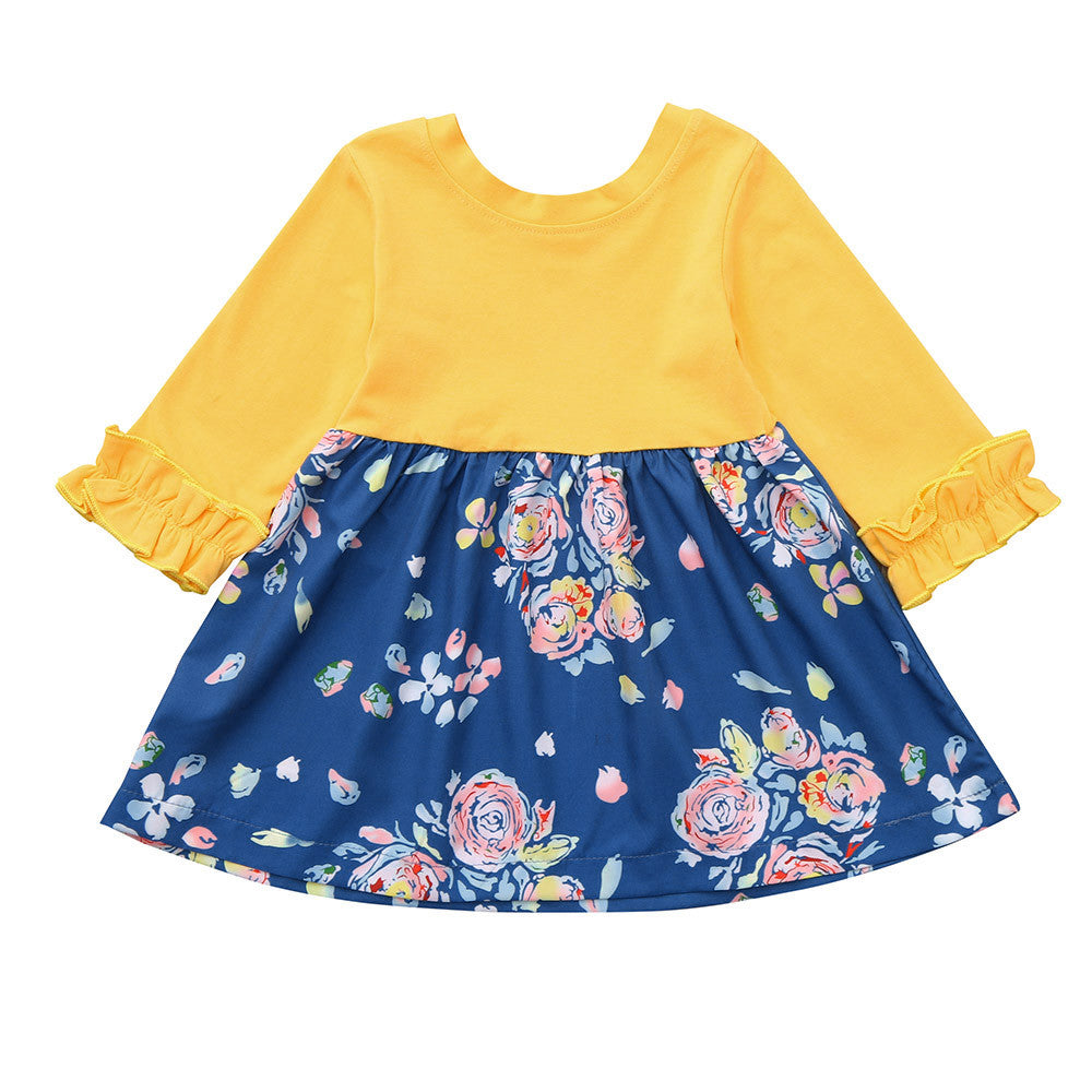 Toddler Baby Girls Dress Long Sleeve Floral - Be Imperial