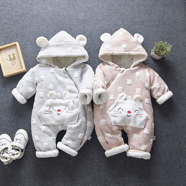 Newborn Baby Thickened Romper Boys Girls Hooded - Be Imperial