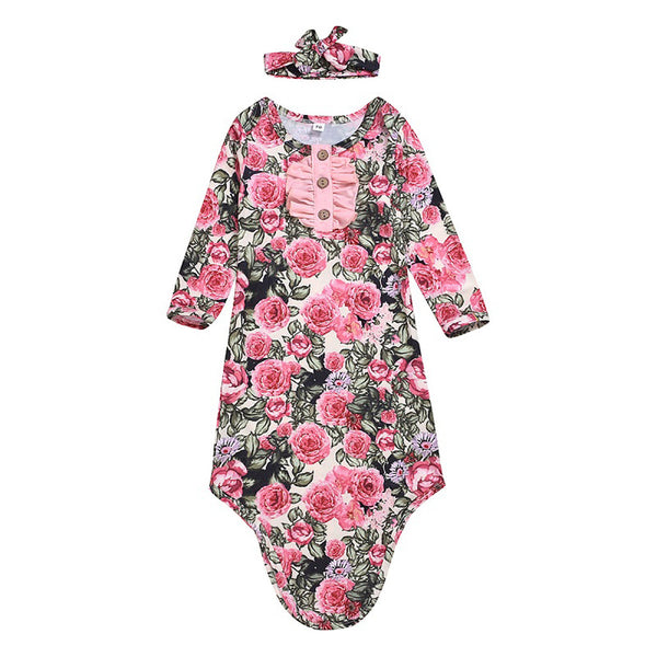 Newborn Infant Baby Boys Girls Floral Botton