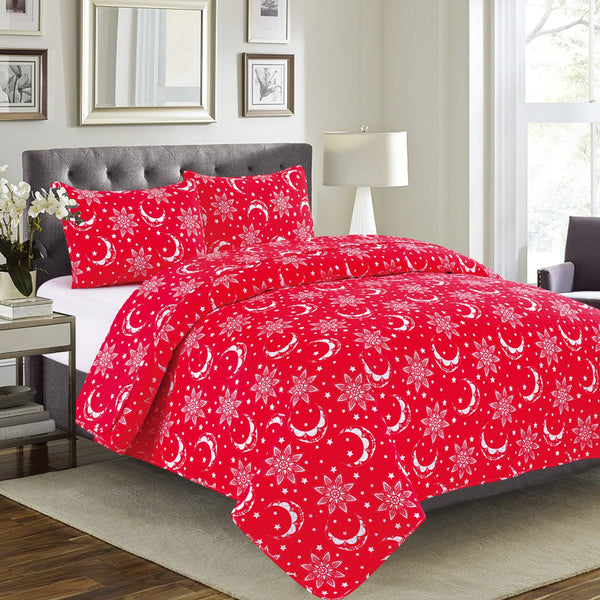 Vera - 3 Piece Quilt Set - Red - Be Imperial