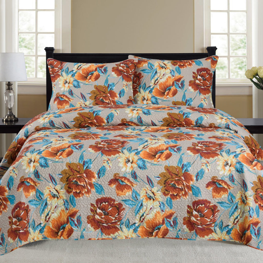 Nikki - 3 Piece Quilt Set - Rust - Be Imperial