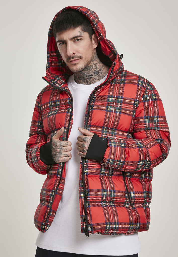 Hooded Check Puffer Jacket - Be Imperial