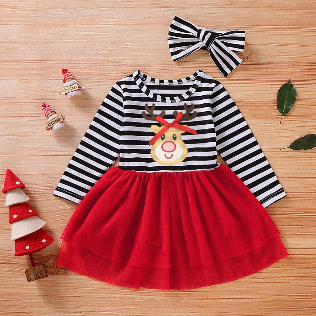 Toddler Baby Girls Christmas Dress Santa Striped