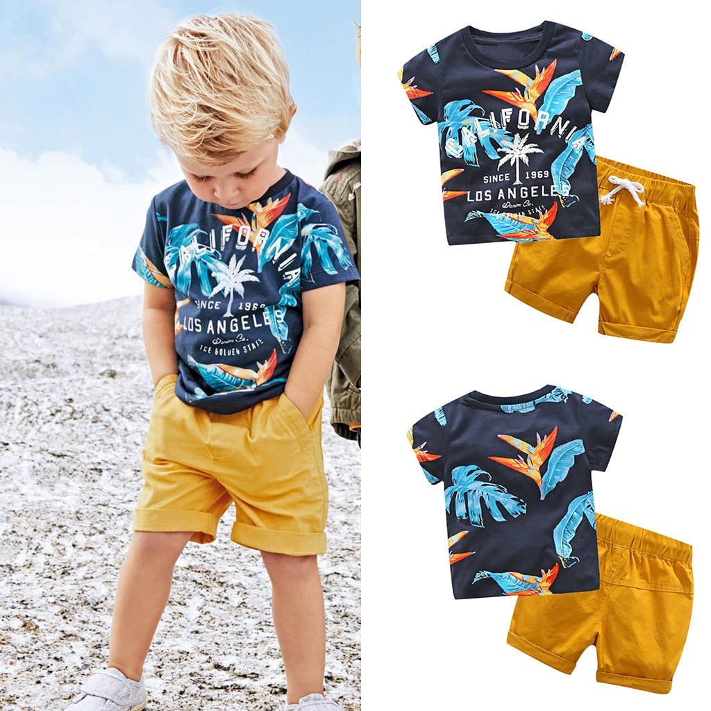 Toddler Baby Kids Boys Leaf Letter Tops Solid - Be Imperial