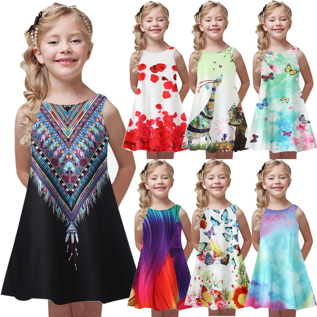 Toddler Girls Summer Princess Dress Kids Baby