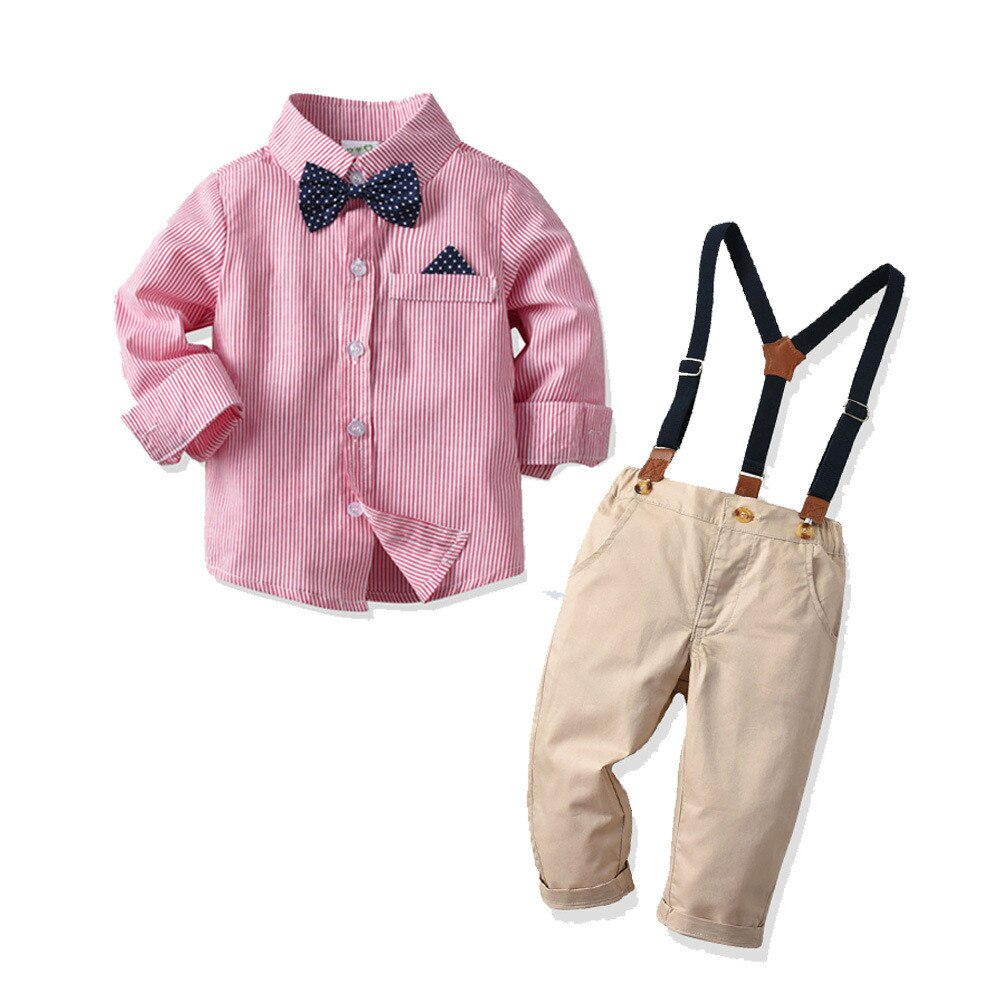 Toddler Kid Baby Boys Outfit Bow Tie Stripe - Be Imperial