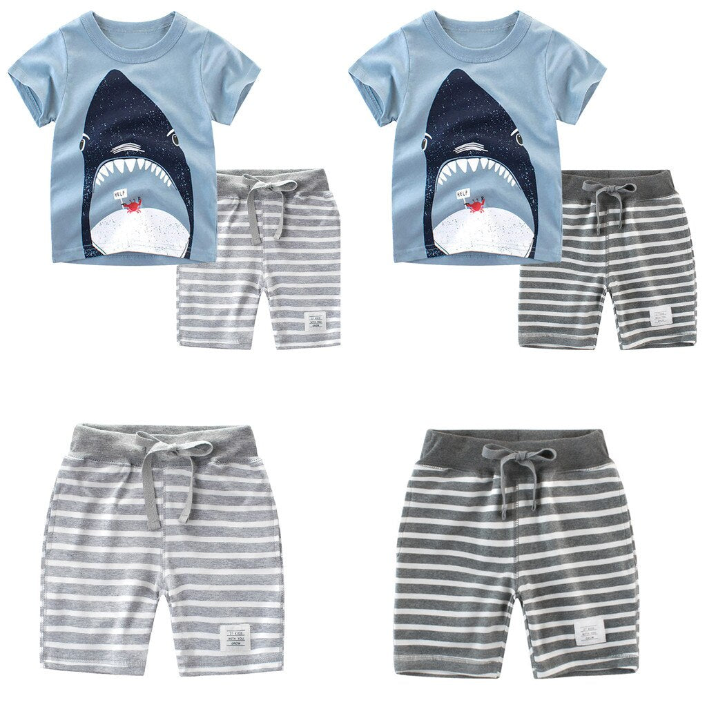 Toddler Kids Baby Boy Clothes Cartoon Stripe Short - Be Imperial