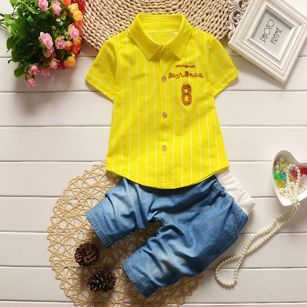 Toddler Kids Baby Boy Letter Stripe T shirt Tops - Be Imperial
