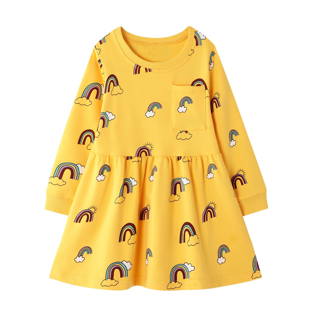 Toddler Kids Baby Girls Dress Casual Rainbow