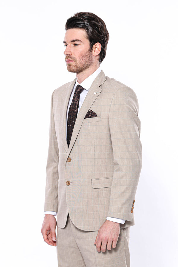 Regular Fit Beige Suit