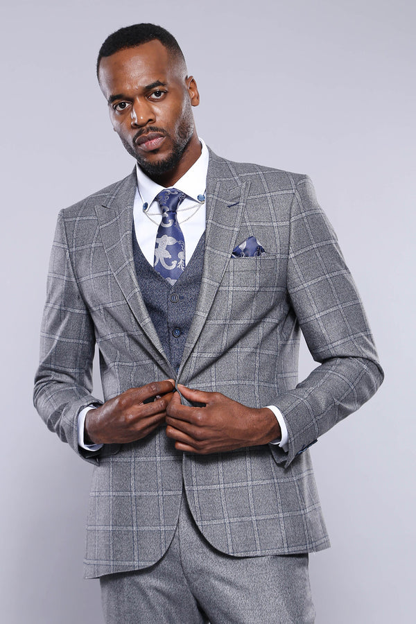 Grey Navy Blue Suit