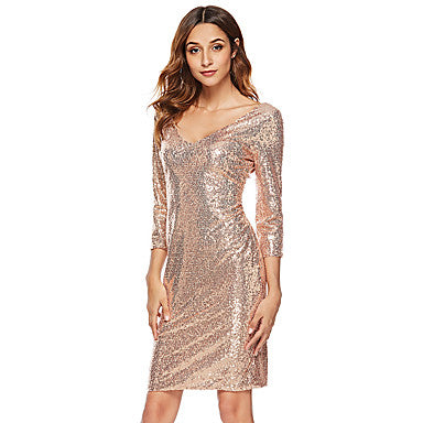 Women's Sophisticated Elegant Bodycon Sheath Dress - Solid Colored Sequins Gold S M L XL