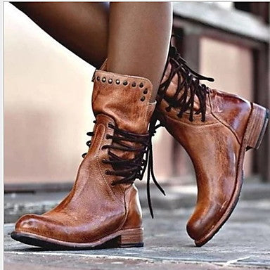 Women's Boots Comfort Shoes Flat Heel Round Toe PU Mid-Calf Boots Fall & Winter Black / Brown / Gray