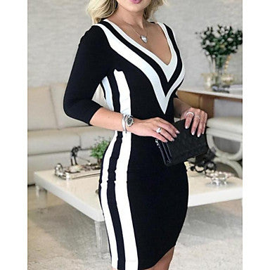 Women's Slim Bodycon Dress - Striped Color Block Deep V Black S M L XL