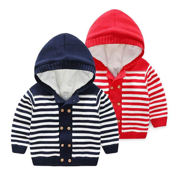 winter Boys Girls Warm Knitted Hooded Tops Autumn