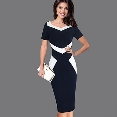 Women's Elegant Sheath Dress - Color Block Black S M L XL - Be Imperial