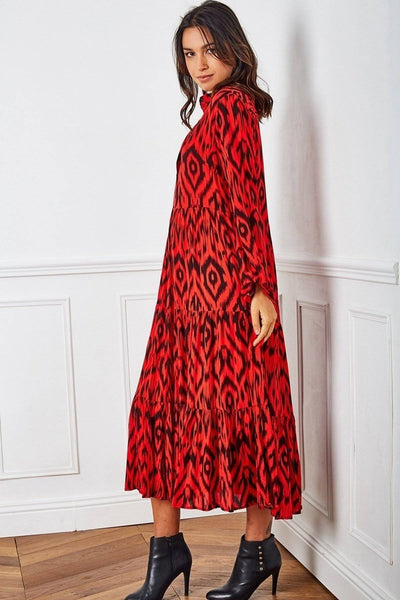 Camila Aztec Half Button Midi Smock Dress In Red - Suburbia Clothing