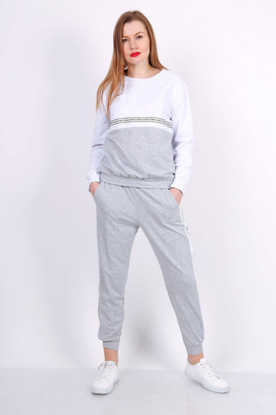 Luna Print Colour Block Grey Tracksuit - Suburbia Clothing